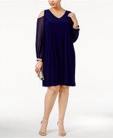 MSK Plus Size Cold-Shoulder Shift Dress