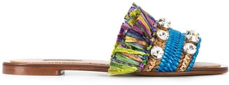 Dolce & Gabbana Crystal-Embellished Fringed Slide Sandals