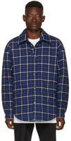 Balenciaga Blue Oversized Flannel Shirt