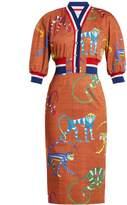 Stella Jean Monkey-print cotton-blend dress