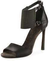 Brunello Cucinelli Leather Monili Ankle-Cuff Sandal, Black