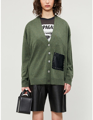Zadig & Voltaire Scarlett faux-leather pocket wool and cashmere-blend cardigan