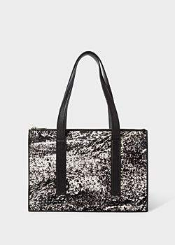 Women's Black 'Hair On Calf' Front 'Concertina' Small Leather Tote Bag