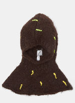 Anntian Abstract Hand-Stitched Embroidery Hood in Brown
