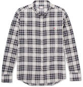 Moncler Gamme Bleu Button-down Collar Checked Herringbone Cotton Shirt - Gray
