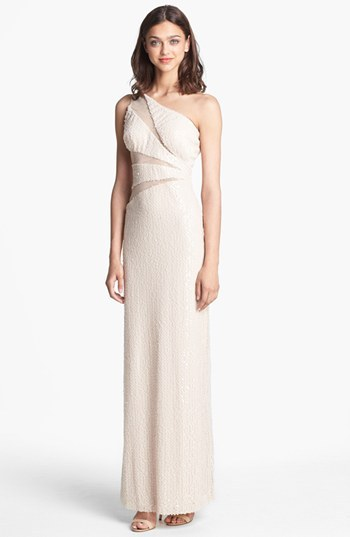 Adrianna Papell One Shoulder Sequin Gown