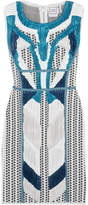 Herve Leger Akira Plissé Chiffon-paneled Intarsia Stretch-knit Mini Dress - Light blue