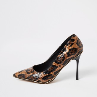 River Island Womens Brown leopard print beaded heeled court shoes