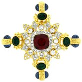Kenneth Jay Lane Large Ruby Crystal & Gold Shield Brooch