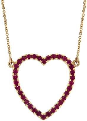 Jennifer Meyer Ruby Open Heart Necklace - Yellow Gold