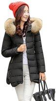 YOUJIA Womens Slim Midi Warm Padded Parka Coat Thicken Winter Jackets (, M)
