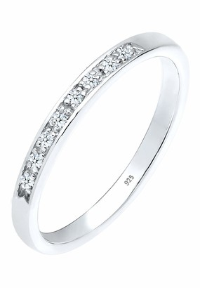 Diamore Women's 925 Sterling Silver 0.08 ct Xilion Cut White Diamond Ring of Size M