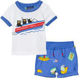 Joules White Monkey Boat Print Tee and Shorts Set