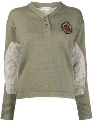 Etro Long Sleeve Paisley-Panel Knit Jumper