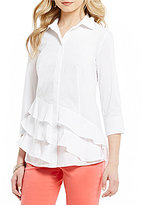 Westbound Point Collar 3/4 Sleeve Tiered Shirt