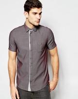Boss Orange By Hugo Boss Shirt With Textured Pattern Slim Fit Short Sleeves