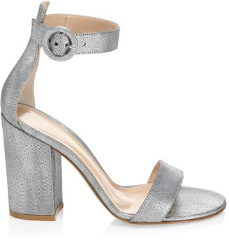 Gianvito Rossi Versilia Block-Heel Metallic Leather Sandals