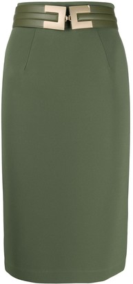 Elisabetta Franchi Logo Belt Pencil Skirt