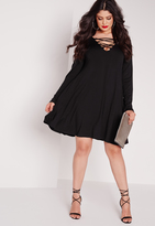 Missguided Plus Size Lace Up Swing Dress Black