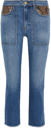Frame Le High Straight Snake-effect Leather-trimmed Mid-rise Straight-leg Jeans