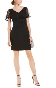 Connected Petite Lace Overlay Sheath Dress