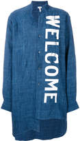 Welcome Print Linen Shirt