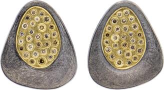 Todd Reed Cognac Diamond Silver Stud Earrings