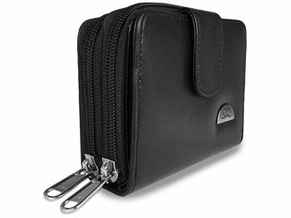 Ladies Designer Leather Purse - 6 RFID & NFC BLOCKING Debit or Credit Card Spaces with Zip Closure - 2 Bank Note Sections - Zipped Up Coin Section - Photo Page - Quenchy London QL330K Black