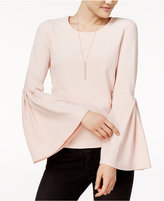 Bar III Crepe Bell-Sleeve Top, Only at Macy's