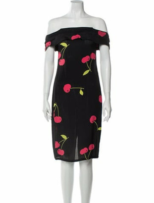 Reformation Floral Print Knee-Length Dress Black