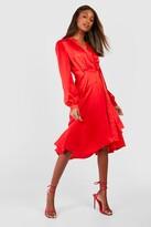 Thumbnail for your product : boohoo Satin Wrap Detail Midi Skater Dress