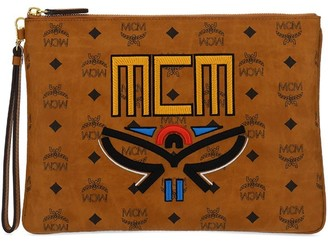 MCM Logo Embroidered Visetos Pouch