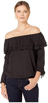 MICHAEL Michael Kors Ruffle Peasant Top (Black) Women's Clothing