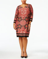 NY Collection Plus Size Scarf-Print Shift Dress