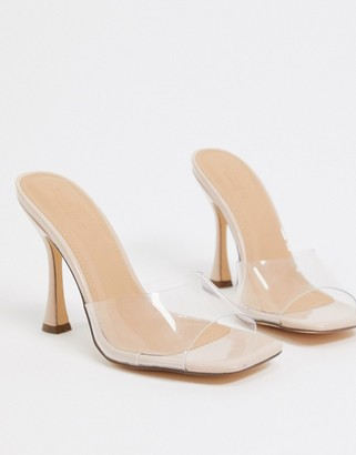 Truffle Collection clear mules with flare heel in beige