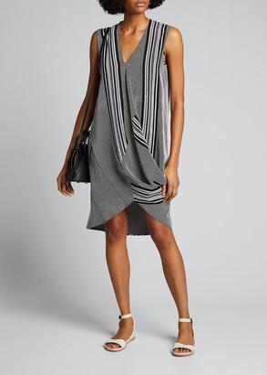 Zero Maria Cornejo Ulla Striped Draped-Voile Dress