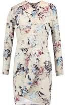 Michelle Mason Wrap-Effect Printed Crepe Mini Dress