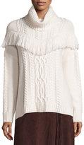 Joie Viviam Cozy Cable Fringe-Trim Sweater
