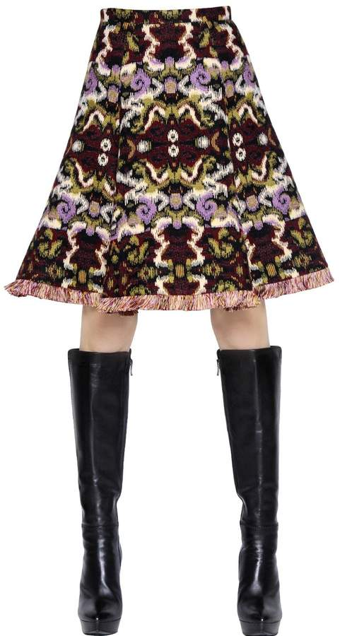 Andrew Gn Wool & Cotton Jacquard Skirt