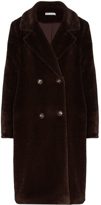 Reformation Faux-Fur Double-Breasted Coat