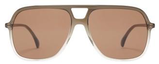 Gucci D Frame Aviator Acetate Sunglasses - Womens - Dark Grey