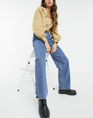 Weekday Rail organic cotton high waist straight leg jeans in 90's blue