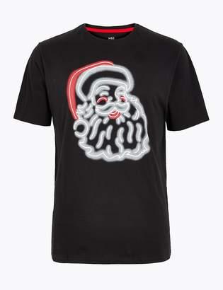Marks and Spencer Cotton Glow in the Dark Santa Pyjama Top