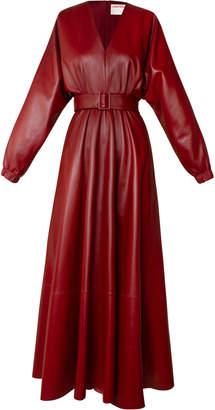 Alejandra Alonso Rojas Belted Leather Midi Dress