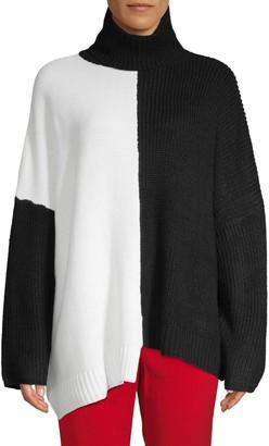 Avantlook Two-Tone Oversized Turtleneck Sweater