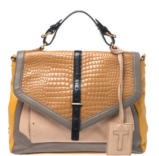 Tory Burch Multicolor Croc Embossed Leather Top Handle Bag