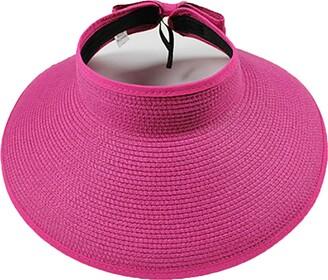 Ulalaza Women's Summer Foldable Straw Sun Visor w/Cute Bowtie UPF 50+ Packable Wide Brim Roll-Up Visor Beach Hat