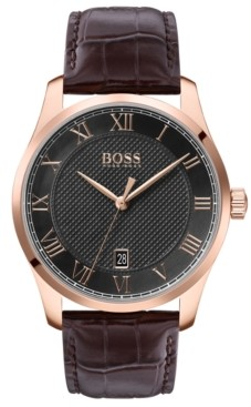 BOSS Men's Master Brown Leather Strap Watch 41mm