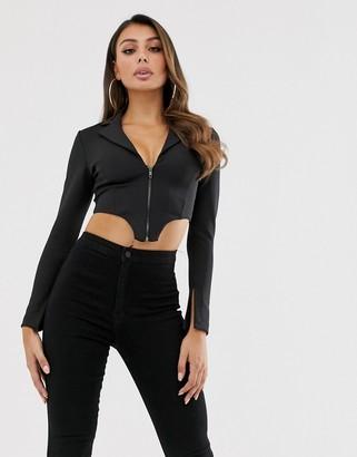 Asos Design DESIGN crop tuxedo corset top in black