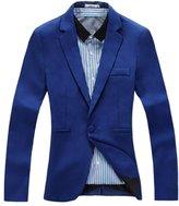 WenHong Korean Men Slim Fit Lapel Coat Casual One Button Blazer Suit Coat Tops